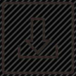 arrow, data stream, down, download, network icon