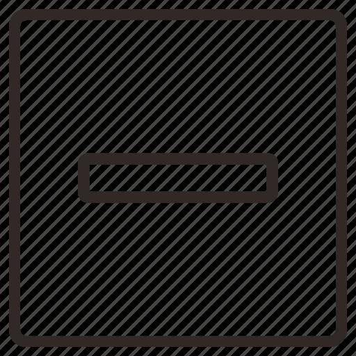 block, minus, negative, reduce, remove icon