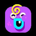 baby, emoji, emotion, laugh, purple, smiley icon