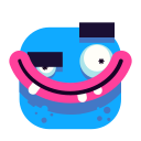 blue, emoji, evil, smile, smiley icon