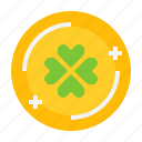 clover, coin, gold, leaf, shamrock, st. patrick icon