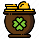 clover, coin, gold, pot, st. patrick icon