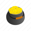coin, day, gold, holiday, isometric, pot, wealth