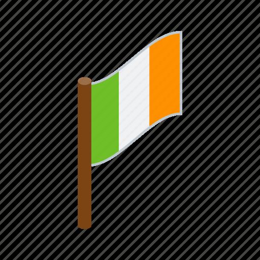 country, flag, green, ireland, irish, isometric, national icon