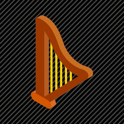 harp, irish, isometric, leaf, music, patrick, shamrock icon