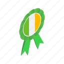 country, emblem, green, ireland, irish, isometric, ribbon icon