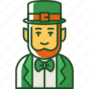 leprechaun, saint, patricks, day, irish, shamrock, hat