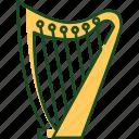 harp, music, instrument, lyre, equipment, sound, irish
