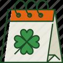 calendar, date, schedule, event, day, st patricks day, shamrock