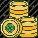 coins, money, gold, cash, coin, shamrock, luck