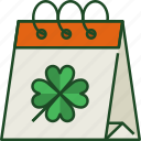 calendar, date, schedule, event, day, st patricks day, shamrock