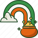 rainbow pot, gold pot, ireland, gold, st patricks day, clover, flag
