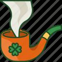 pipe, smoke, pipe smoke, shamrock, smoking, tube, irish