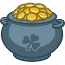 cash, gold, irish, leprechaun, money, pot of gold, saint patrick icon