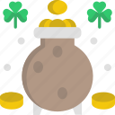 clover, cultures, gold pot, good luck, money icon