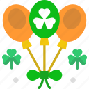 balloons, celebration, clover, saint patrick, shamrock icon
