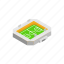 field, football, game, isometric, open, soccer, sport icon