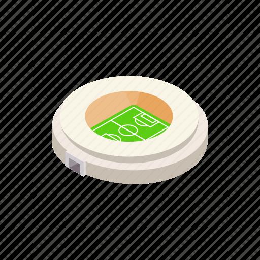 event, field, football, isometric, round, sport, stadium icon