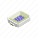 field, green, isometric, sport, stadium, tennis, tournament icon