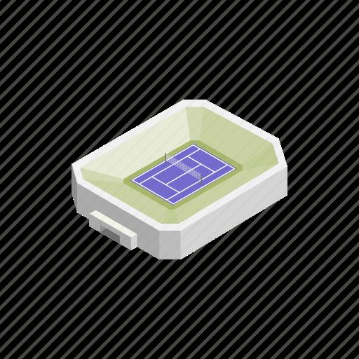 field, green, isometric, sport, stadium, tennis, tournament icon