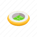 event, field, football, isometric, round, sport, stadium icon