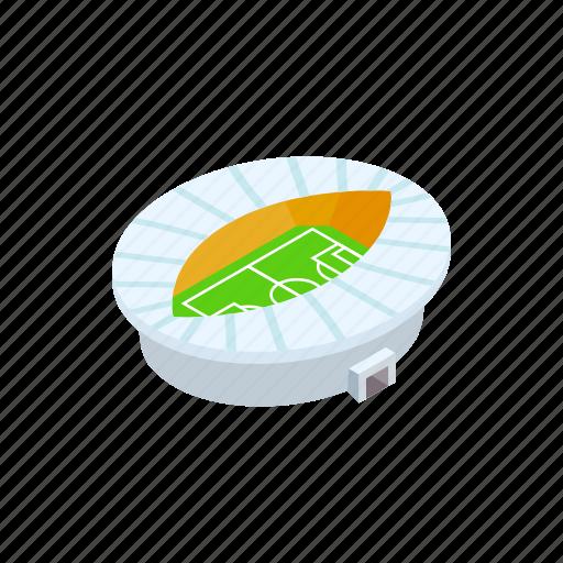 building, ellipse, football, isometric, oval, soccer, stadium icon