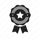 achievement, approved, award, badge, best, excellent, favorite, medal, star, win icon