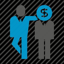 banker, dollar, finance, friend, investor, money, people icon