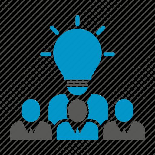 brainstorm, bulb, innovation, light, people, smart, think icon