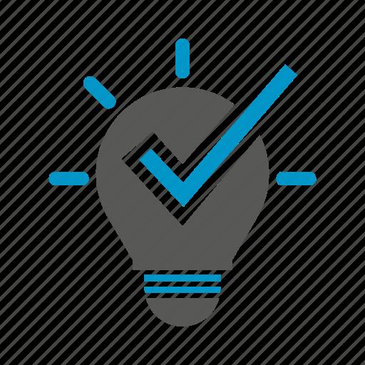 approve, bulb, check, creative, idea, pass, smart icon