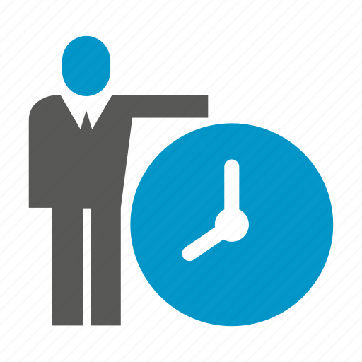 business man, clock, management, people, time icon