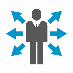 arrow, business man, decision making, direction, people icon