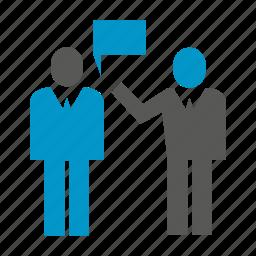 communicate, office, people, speech, talk, worker icon