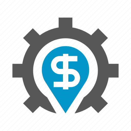 cog, dollar, finance, gear, money icon