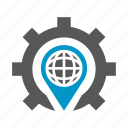 cog, gear, globe, gps, location, world icon