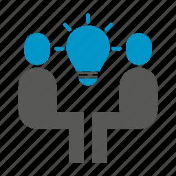 brainstorm, bulb, idea, innovation, people, sitting, smart icon