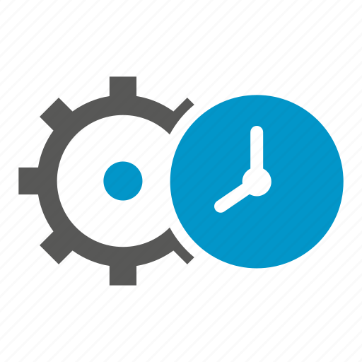 clock, cog, gear, time, time management icon