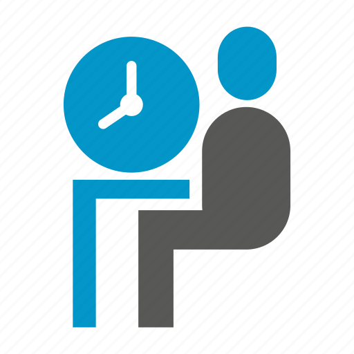 clock, office, people, sitting, time, worker icon