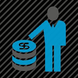 coin, dollar, finance, investor, money, people icon