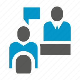 communicate, interview, job interview, office, people, sitting, talk icon