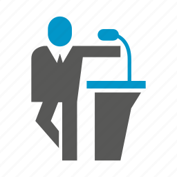 business, conference, man, mic, people, podium, speaker icon