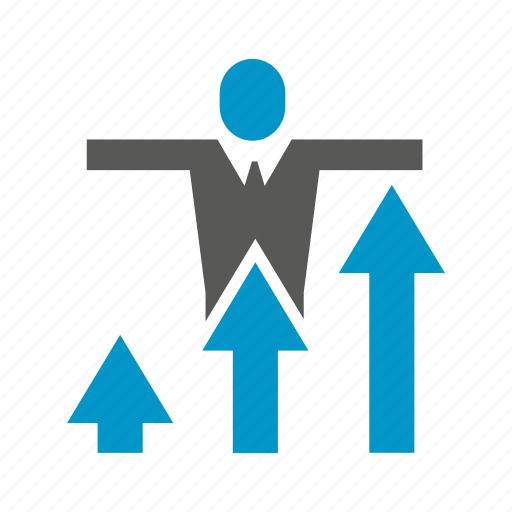 arrow, benefit, business, chart, growth, people, profit icon