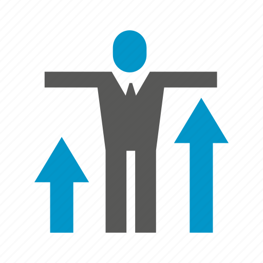 arrow, business, chart, growth, people, profit icon