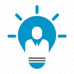 bulb, creative, idea, innovation, light, people, think icon