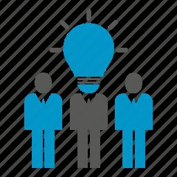 business people, idea, light bulb, smart, startup, team, think icon