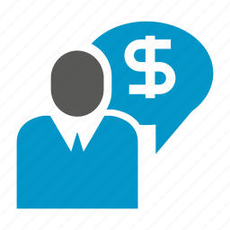 business man, business people, management, money, speech icon