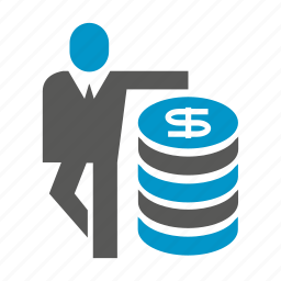 business people, dollar, fund, invest, money, stack icon
