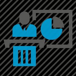 conference, pie chart, podium, presentation, speaker icon