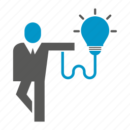 business people, idea, innovation, smart, stand, think icon