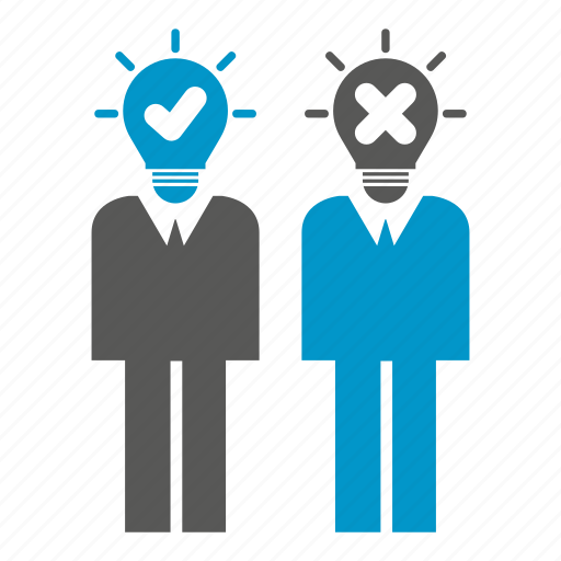 bulb, idea, people, right, think, together, wrong icon